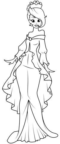 princesas para colorear 33 con vestido elegante