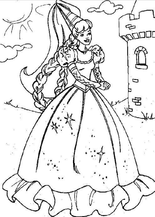 princesas para colorear 39 con castillo al fondo