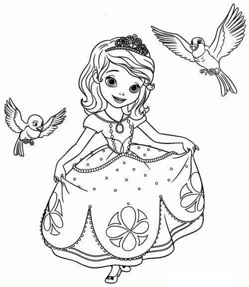 princesas para colorear 4 con pajaritos