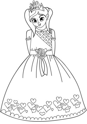 princesas para colorear 42 vestido con corazones