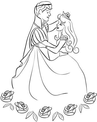 princesas para colorear 59 bailando con principe