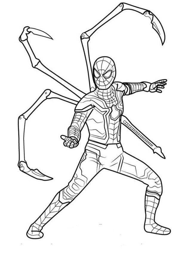 spiderman para colorear 2 con patas articuladas