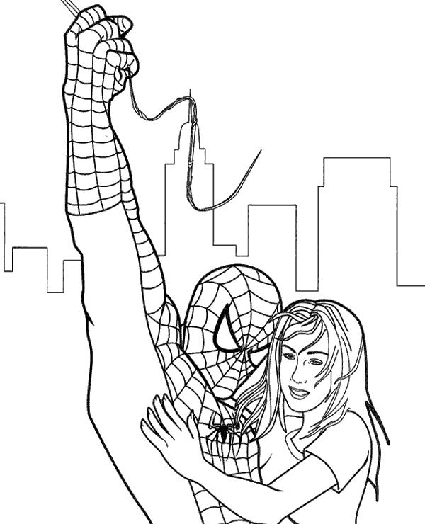 spiderman para colorear 40 rescatando a chica