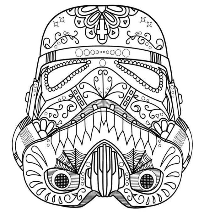 star wars para colorear casco soldado imperial mandala