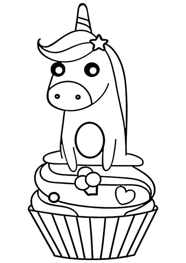 unicornios para colorear 26 con pastelito